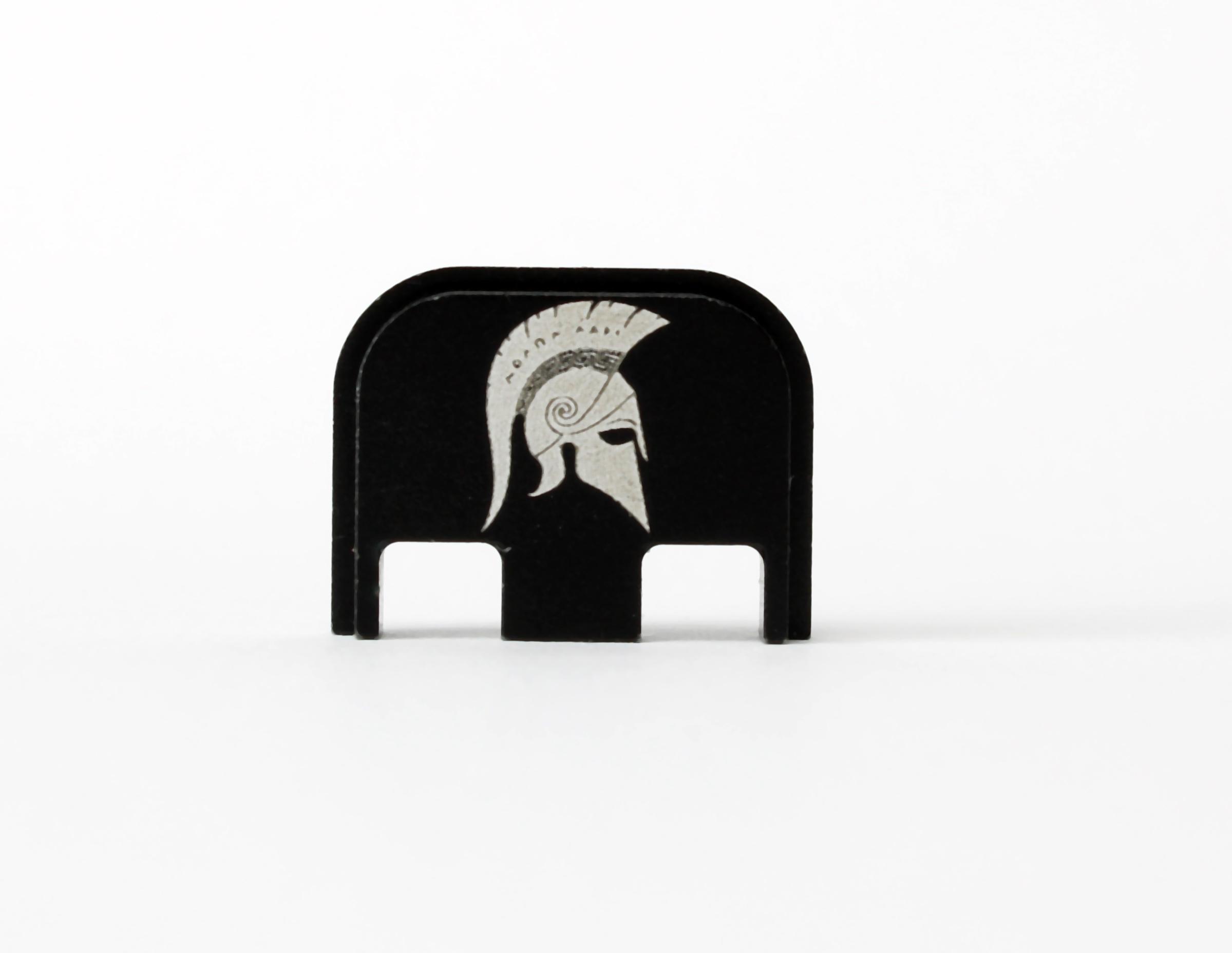 Glock Backplate Molon labe mit Spartaner Helm Gen. 1-5